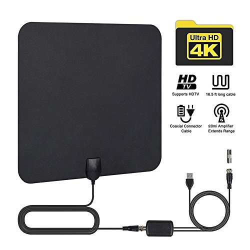 2018 Upgraded TV Antenna, KOBWA Amplified Indoor Digital TV Antenna 50Mile Range Freeview TV Aerial with Detachable Signal Booster, Indoor Digital TV Aerial with Cable for Vhf/UHF/FM, Soft Design