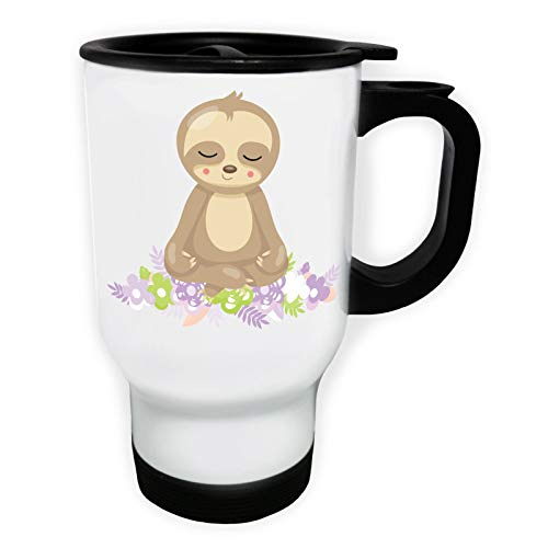 Sloth Doing Yoga Meditation White Thermo Travel Mug 14oz ee602tw by INNOGLEN