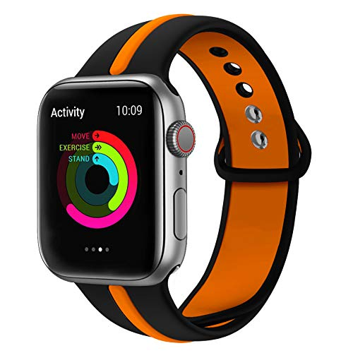 WHLIHUSU Sport Band Compatible with Apple Watch 42mm/44mm, Soft Silicone Sport Strap Replacement iWatch Bands Compatible with Apple Watch Wristbands 4 3 2 1 Nike+ (M/L,Black & Orange) -