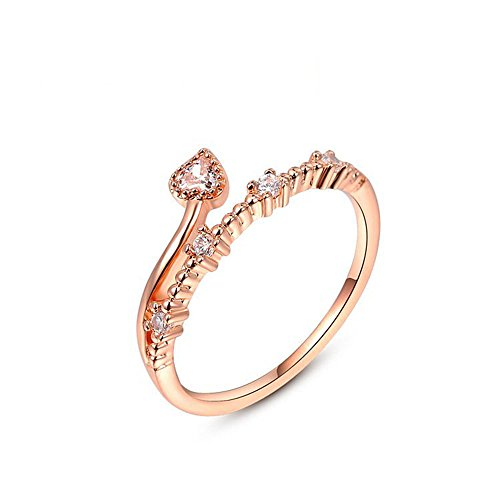 Winter.Z Womens Jewelry Popular Explosion Models Austria Crystal Rose Gold (Gold Tip Flower Ring)