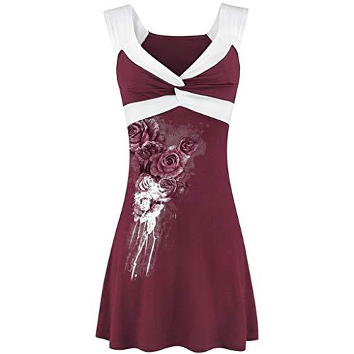 Women V Neck Sleeveless Print Cross Strapless Vest Cami Pullover Shirt Shirt Top T Shirt Wine ()