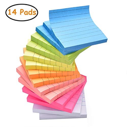 - Sticky Note Pads 14 Pads Lined 3x3 inches Sticky Notes 7 Bright Colors Self-Stick Notes with Lines 80 Sheets/Pad Easy Post Individually Wrapped Red Pink Green White Yellow Orange Blue