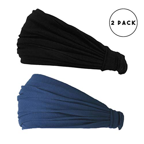 CHARM Black & Navy 2-Pack Japanese Bandana Headbands for Men and Women – Comfortable Head Bands with Elastic Secure Snug Fit Ideal Runners Fitness Sports Football Tennis Stylish Lightweight M by CCHARM (Image #1)