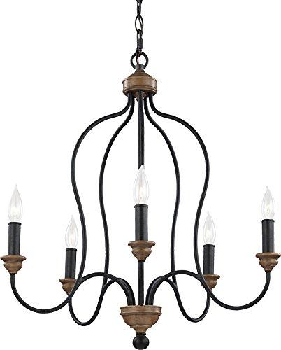 (Feiss F2998/5DWZ/WO Hartsville Farmhouse Candle Chandelier Lighting, Bronze, 5-Light (24
