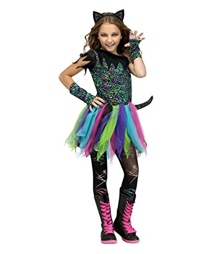 Wild Cat Rainbow Animal Child Halloween Costume, Black / Blue / Pink, Medium - Girl Cat Costumes For Halloween