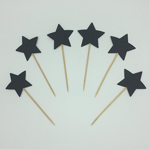 TooMeeCrafts Double Sided Star Topper Black Glitter Star Wand Cake Topper Cupcake Topper Wedding Cupcake Toppers Set of 18
