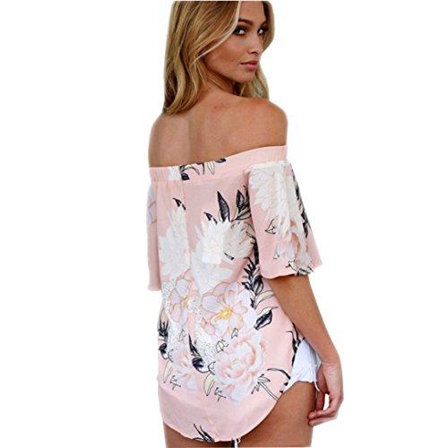 TWBB Oberteile Damen, Beiläufig Lose Schulterfrei Floral Bedruckt Bluse Tops T-Shirt Rosa OcQNfNGx schön