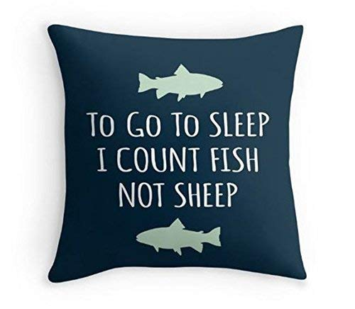 (alerie Sassoon to go to Sleep, I Count Fish not Sheep Pillowcase Fish Pillowcase with The Quote Nursery Pillowcase Cover Lake Nursery Pillowcase Home Decor)