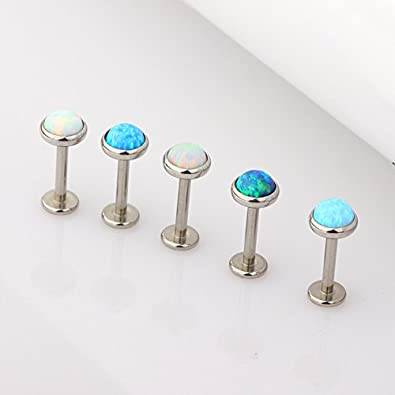TIANCI FBYJS 6pcs Opal Stainless Steel Labret Stud Jewelry Lip Ring Piercing Tragus Helix Ear Cartilage 16G