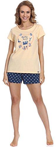 Cornette Pijama 3 Piezas para mujer CR 666 64 MakeUp Amarillo/Navy