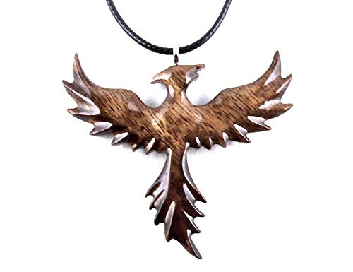 Rising Phoenix Pendant Necklace Fantasy Bird Jewelry Hand Carved in Granadillo Exotic ()