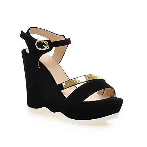WeenFashion Buckle Black Heels Sandals Toe Women's Open Frosted Solid High 0Fwr0azx