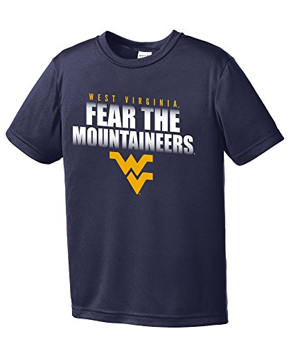 NCAA West Virginia Mountaineers Boys Fear Short Sleeve Polyester Competitor T-Shirt, Youth Large,Navy