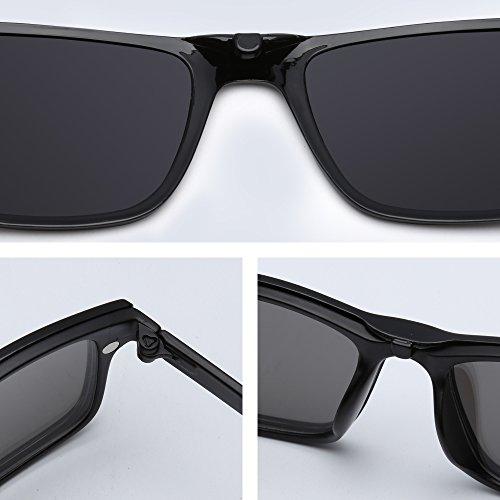 Conducción Marco Para en Piezas Rectángulo Gafas Nocturna 5 Plástico Magnético Polarizadas de Clip Estilo Sol xqRwTwPf81