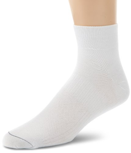 Wrightsock Men's Coolmesh II Quarter Single Pack Socks, White, X-Sock Size:10-13/Shoe Size: 6-12