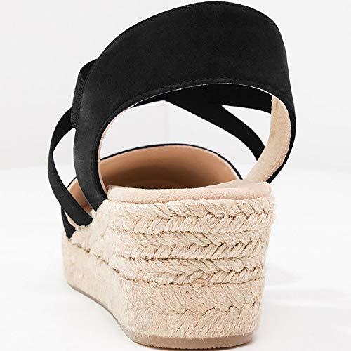 a2c9ce8f38d55 Nailyhome Womens Espadrilles Platform Wedge Sandals Elastic Crisscross  Strappy Closed Toe Mid Heel Sandals Black