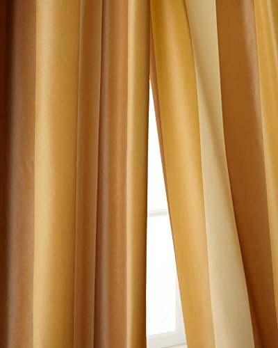 (Ivory,beige & gold toned striped faux silk taffeta lined rod pocket curtain panel (52