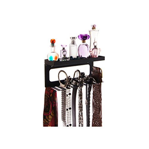 Angelynn's Wall Mount Belt Holder Rack Closet Organizer Shelf, Arinn Black