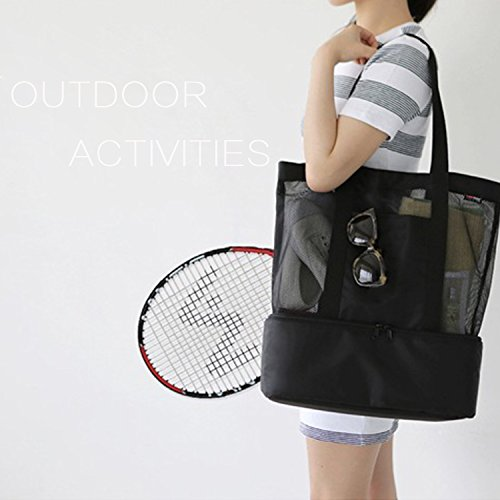 Layer Picnic Organizer negro Bag Tote Compras Double Beach Mesh OKPOW bolso 0qY7wx