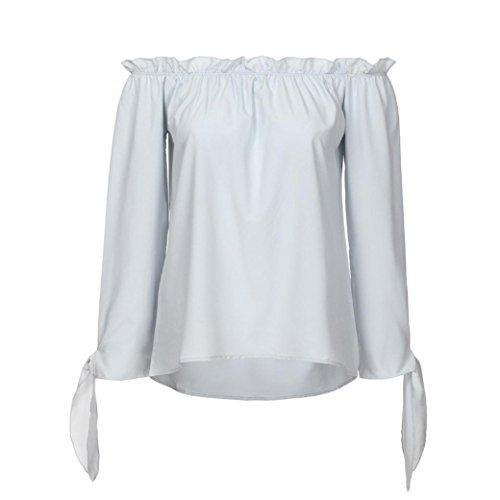 t Femmes Cou Bateau Longues Manches Dcontract Shirt paule Bringbring Blouse Tunique Top Gris Froide 5w8x0wF