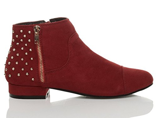 flat Studded boots booties Ajvani riding pixie size heel Womens ankle ladies Red gold Suede low up zip aRxzaqP
