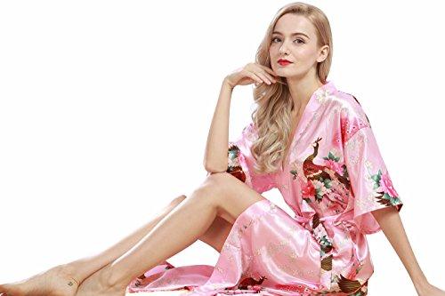 Plus lungo collezione Robe da VERNASSA di d'onore Kimono di Vestaglia fiori Pigiama 200 seta damigella Size Rosa e pavone Donna Raso Accappatoio da del notte Accappatoio WWqHBAn