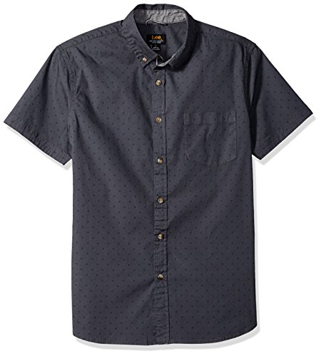 LEE Men's Short Sleeve Button Down Dress Shirt Camp Regular Big Tall, Print Ebony, Small