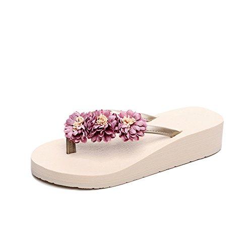 Fereshte Kvinna Strand Rem Plattform Kilar Vippor Sandaler Med Blommor 760-rosa Beige