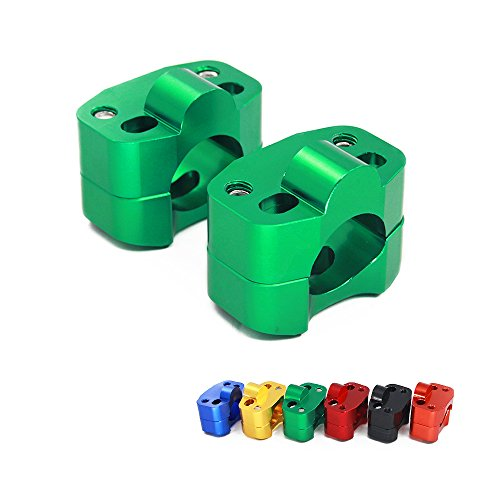 "HandleBar Fat Handle Bar Risers CNC Aluminum Mount Clamp Adapter Exchange 7/8"" - 1 1/8"" For Honda Yamaha Kawasaki Suzuki CRF YZF KXF KLX RMZ DRZ KX RM YZ SX EXC XC 65 85 125 250 Dirt Bike Green"