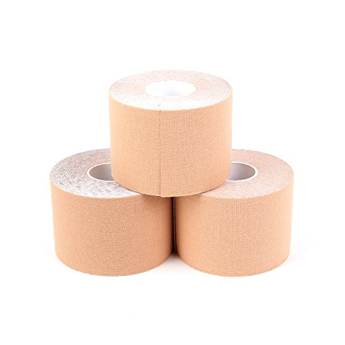 Superbe Kinesiology Tape (3 Rolls Pack), Elastic Sports Tape for Athletic Sports, Pain Relief, Recovery and Physio Therapy, 2 Inch x 16.4 feet (Beige) by SUPERBE