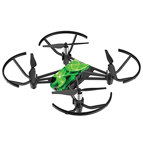 MightySkins Skin for DJI Ryze Tello Drone - Green Flames | Protective, Durable, and Unique Vinyl Decal wrap Cover | Easy to Apply, Remove, and Change Styles | Made in The USA