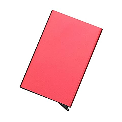 Rumfo RFID Blocking Business Card Holder Money Clip Aluminum Automatic Pop Up Card Pocket Case Magnet Slim Wallet Business ID Bank Credit Card Protector Box (Red)