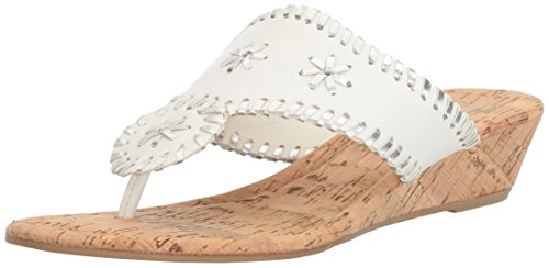 Rampage Women's Scheena Thong Cork Low Wedge Sandal,  White/Silver , 7.5 M US ()