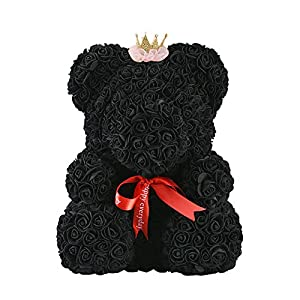 SODIAL 40Cm Teddy Bear with Crown in Gift Box Bear of Roses Artificial Flower New Year Gifts for Women Valentines Gift Pink 72