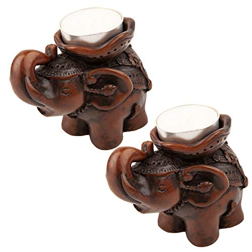 IYARA_CRAFT 2 Pcs Resin Candle Holders with tealight Candle - Decorative Candle Holders with Inlaid Aluminium Antique Elephant - Intricate Details - Ideal for Modern & Rustic Settings (Elephant Ornaments Wooden)