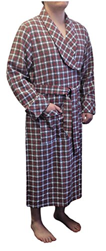 Flannel White Robe (Lee Valley, Ireland - Men's Flannel Robe (XXL, Red/White Check))