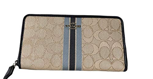(Coach Signature PVC Accordion Zip Around Wallet (SV/Khaki Multi))