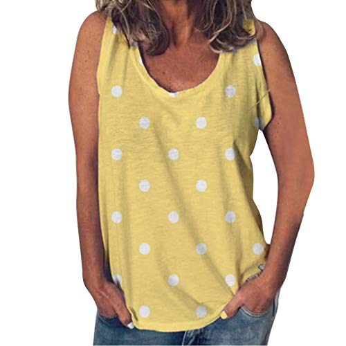 Witspace Fashion Women Summer O-Neck Sleeveless Polka Dot Print Casual Daliy Tank Top