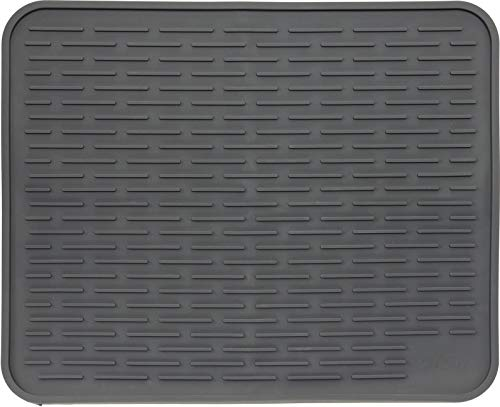XXL Super Size Silicone Dish Drying Mat 24 x 18 Inch - Large Drainer Mat and Trivet by LISH (Slate Grey, 24 x 18)