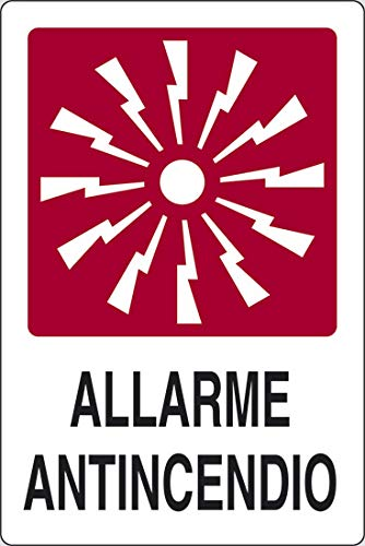 PIXLEMON Cartel de Aluminio 31 x 25 cm Alarma antiincendios ...