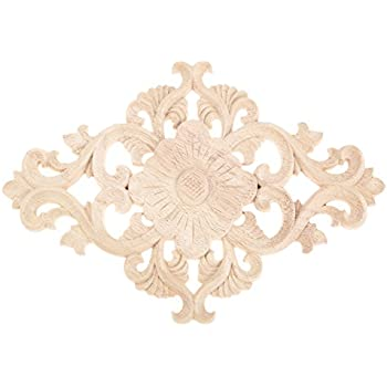 MUXSAM 4pcs Unpainted Wood Carved Corner Onlay Applique Frame Furniture Home Decor 27x14cm