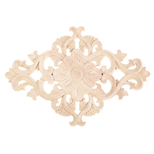 Unpainted Wood Carved Corner Onlay Applique Frame Furniture Home Decor 27x14cm