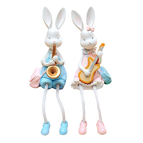 baidercor Resin Rabbits Statue Shelf Sitter Figures Playing Instruments 2 -