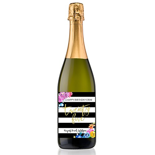 Personalized Labeled Wine Bottle for Birthday Gift Congratulations Birthday Flowers Sparkling Wine 750ml (Gift Basket Champagne)