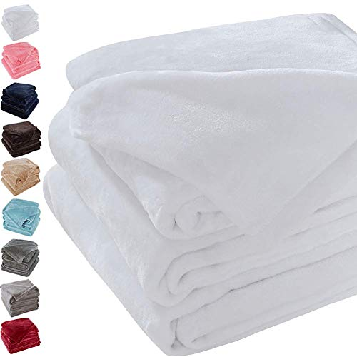 Sonoro Kate Fleece Blanket Soft Warm Fuzzy Plush Queen(90-Inch-by-90-Inch) Lightweight Cozy Bed Couch Blanket,Easy Care, White