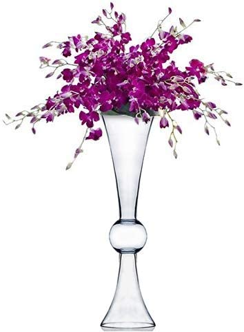 CYS EXCEL Reversible Glass Trumpet Vase, 24 , Clear