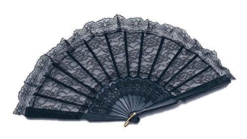 Black Lace Fan Spanish Salsa Rumba Fancy Dress Accessory Burlesque Moulin (Moulin Rouge Clothes)
