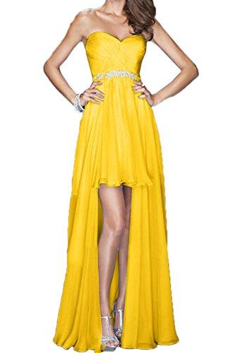Promkleid Damen Chiffon Lo Partykleid Abendkleid Herzform Einfach Hi Festkleid Golden Ballkleid Ivydressing Lang wS106xqg6