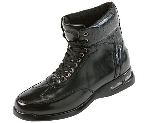 Pelle Pelle Mens Hoge Top Luchtbodem Casual Sneaker Laars In Zwart Soepel Met Struisvogel Quill Bedrukte Kraag: Style Pp1501 Black-000