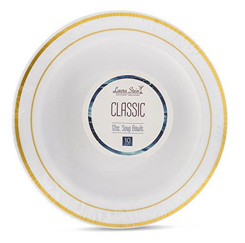 Laura Stein Designer Tableware Premium Heavyweight 12 Ounce White And Gold Rim Plastic Party & Wedding Soup Bowls Classic Series Disposable Dishes Pack of 40 Bowls